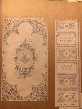 An elaborately gilt design for the Book of Common Prayer